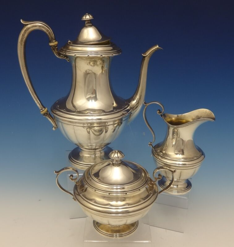 Old Colonial by Towle Sterling Silver Tea Set 3pc Coffee Sugar Creamer (#0500)