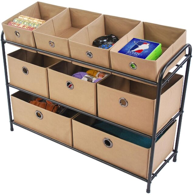 Storage Bin Organizer Tier Multi Bins Black Frame Taupe Drawers