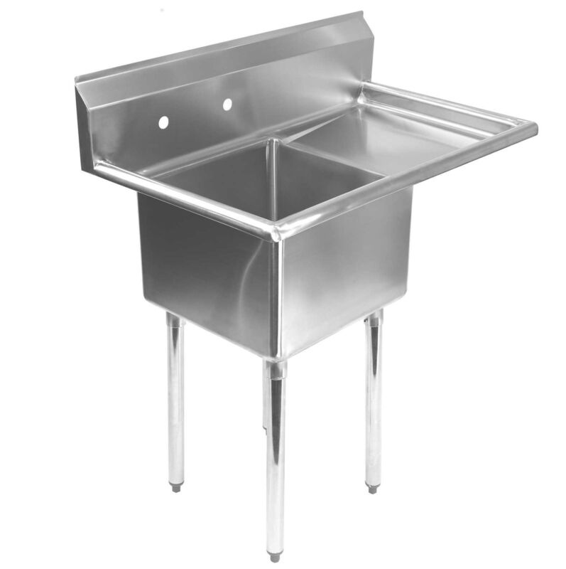 "Stainless Steel Commercial Kitchen Utility Sink with Drainboard - 39"" wide"
