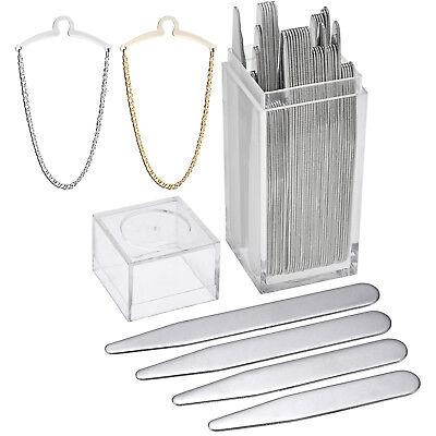 42pc Set Father Gift Men Steel Collar Stay + Necktie Link Tie Chain Insert Shirt
