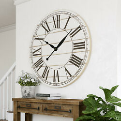 Modern Wall Clock Oversized Eye-Catching Accent Farmhouse Distressed Finish 48