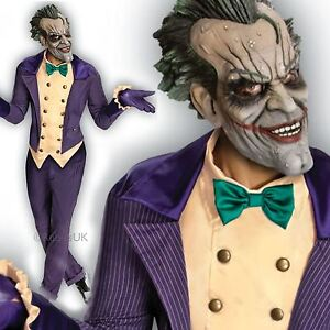 Mens Deluxe Arkham City Joker Fancy Dress Costume Batman Halloween Outfit + Mask