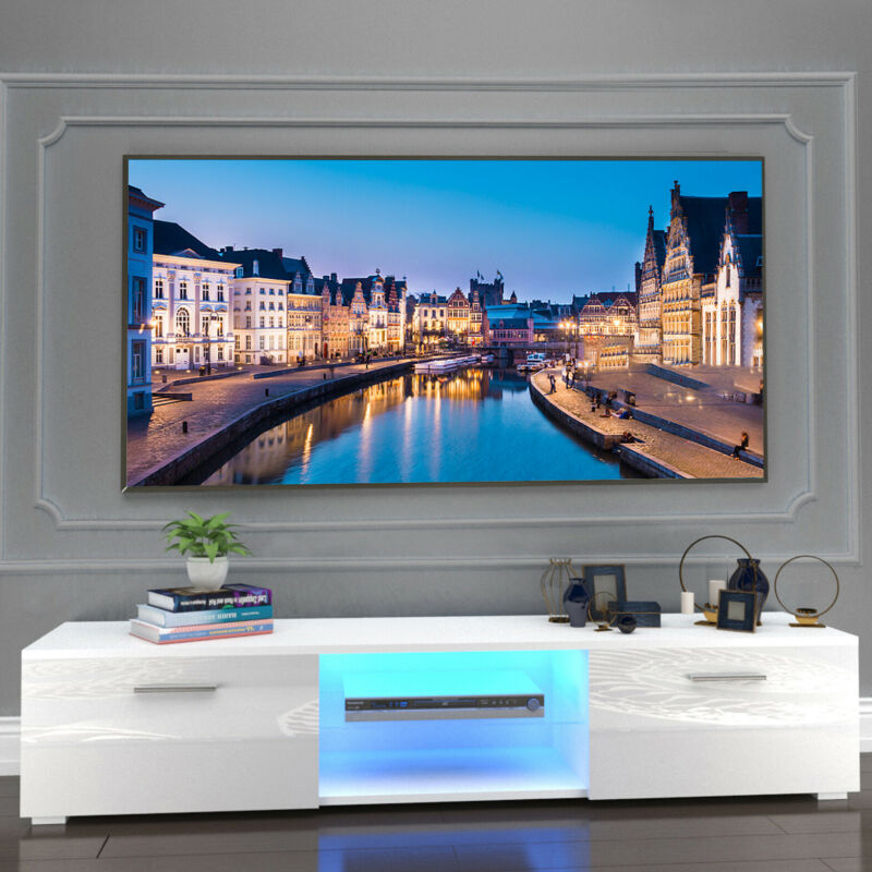 "63""White High Gloss TV Stand Unit Cabinet Entertainment Center 2LED Shelf Drawer"