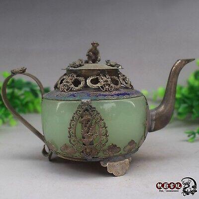 Collectible Decorated Old Handwork Jade & Tibet Dragon Monkey &Tea Pot