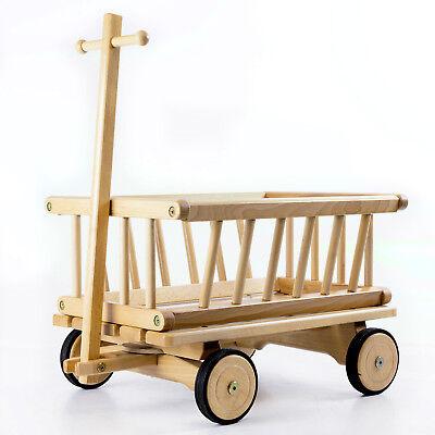 HolzFee Kinder Handwagen 50 cm Holzwagen Buche Kinder Bollerwagen Leiterwagen