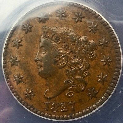 Click now to see the BUY IT NOW Price! 1827  N9 CORONET  HEAD LARGE CENT PLEASING ANACS  GRADED  EXAMPLE AU50