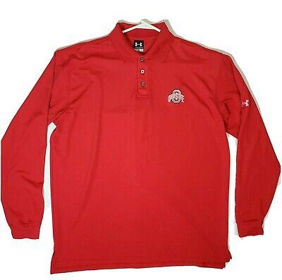 Under Armour Ohio State Buckeyes Long Sleeve Dri Fit Polo Shirt Size Medium Med  State Long Sleeve Polo