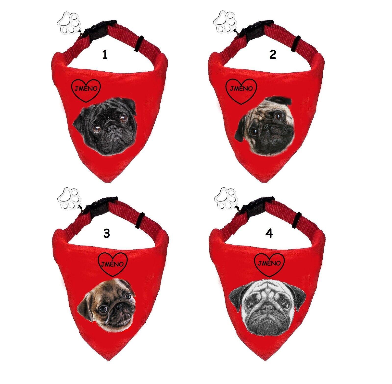 MOPS PUG  Hundehalstuch, Hundehalsband mit Schal mit Name dog scarf