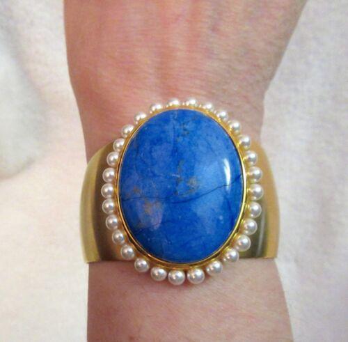 MMA Blue Stone Faux Pearl Cuff Bracelet Metropolitan Museum Costume Inst Superb!