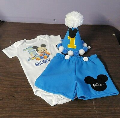 Mickey Mouse Outfit For Boys (Baby Blue Mickey Mouse outfit for first year birthday)