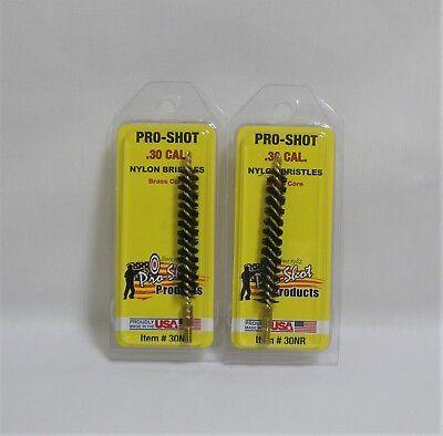 Gun Cleaning 2 Pack Pro Shot Nylon Bore Brushes 12 Calibers Rifle 22 30 38 Brush