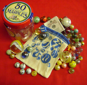 NEW 50 OF THE WORLDS BEST MARBLES IN A TUB with BAG & LIST OF TRADITIONAL GAMES