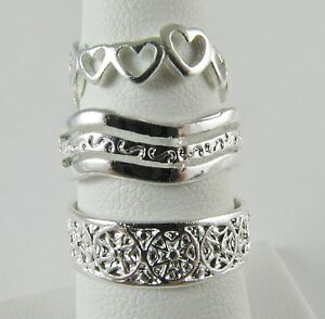 new wholesale lot 3 pc toe ring 925 sterling silver plate