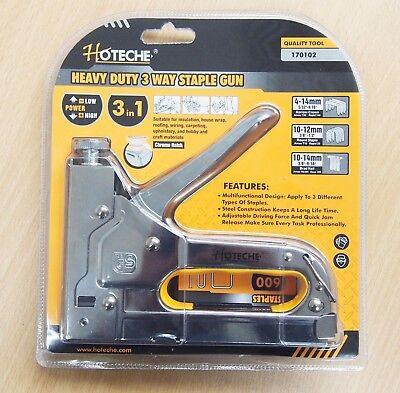 Heavy Duty 3 in 1 Hand Staple Gun Tacker Chromed with 600 Staples