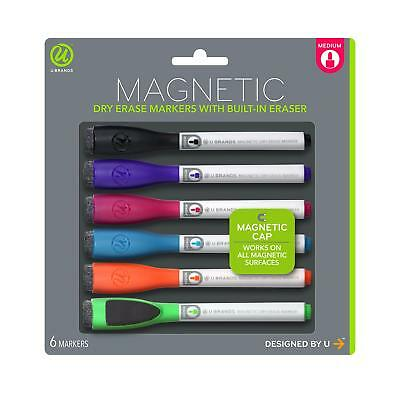 U Brands Low Odor Magnetic Dry Erase Markers With Erasers Medium Point