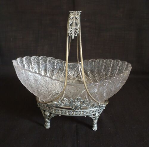 James W. Tufts Victorian Silver-Plate Bridal Basket with Original Glass Bowl