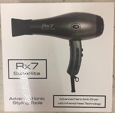 New In Box Rx7 Superlite Advance Nano Ionic With Infrared Heat Grey Hair Dryer