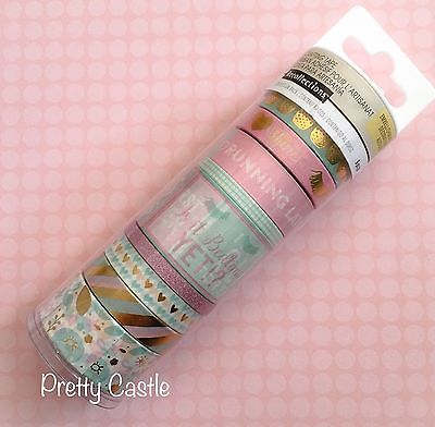 New Recollections Planner Washi Tape Tube set - Pineapple Heart Pink Gold Foil