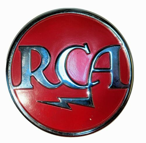 "VINTAGE RCA RED MEATBALL LOGO BADGE 3-1/4"" ...RARE..."
