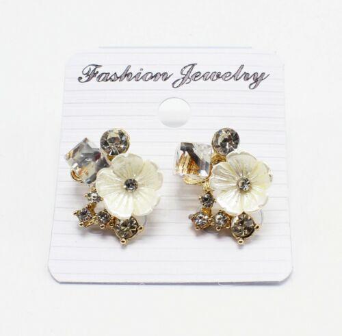 New Wholesale One Dozen Flower Rhinestone Gold Stud Earrings #MC35153-12