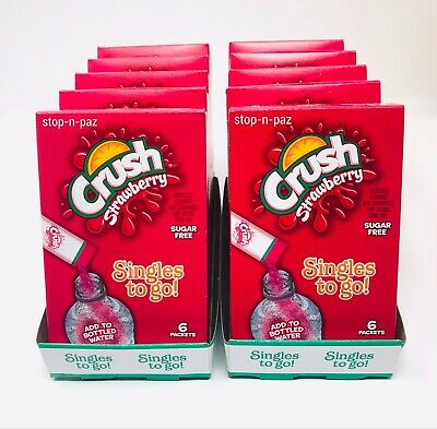 Crush Strawberry Drink Mix Singles To Go Sugar Free 10 Boxes (6 Packets Each)