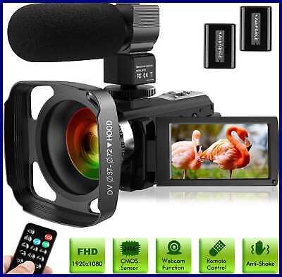Ultra HD Video Camera Camcorder W Microphone 1080P 30FPS 24MP Vlogging Digital L