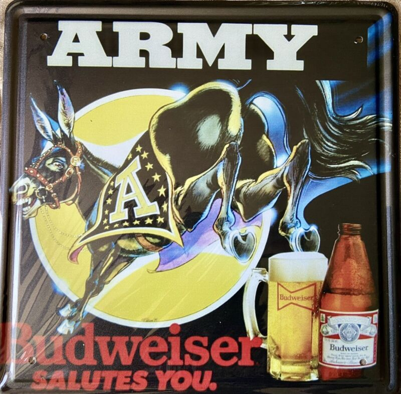 "12""x12"" Budweiser Army Tin Sign"