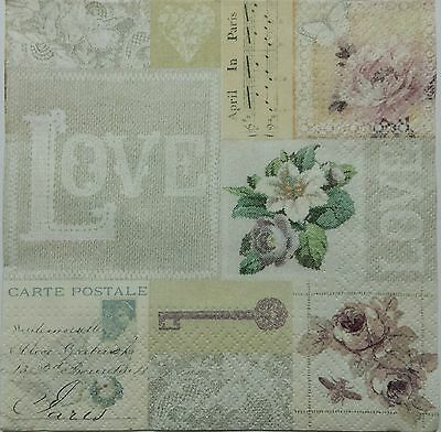 VINTAGE LOVE COLLAGE  2 single LUNCH SIZE  paper napkins for decoupage 3-ply