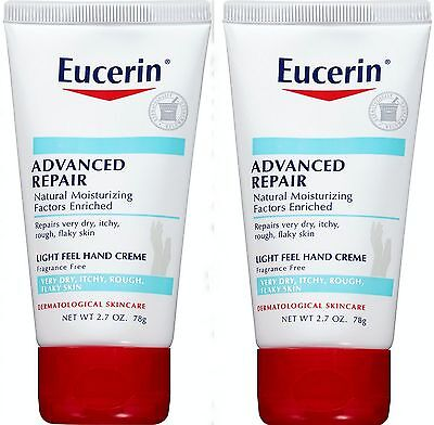 """3 Eucerin ADVANCED REPAIR 2.7oz Light Feel HAND CREME very"