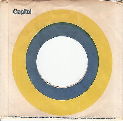 Company Sleeve 45 Capitol   White W  Blue   Yellow Circle  No C Logo
