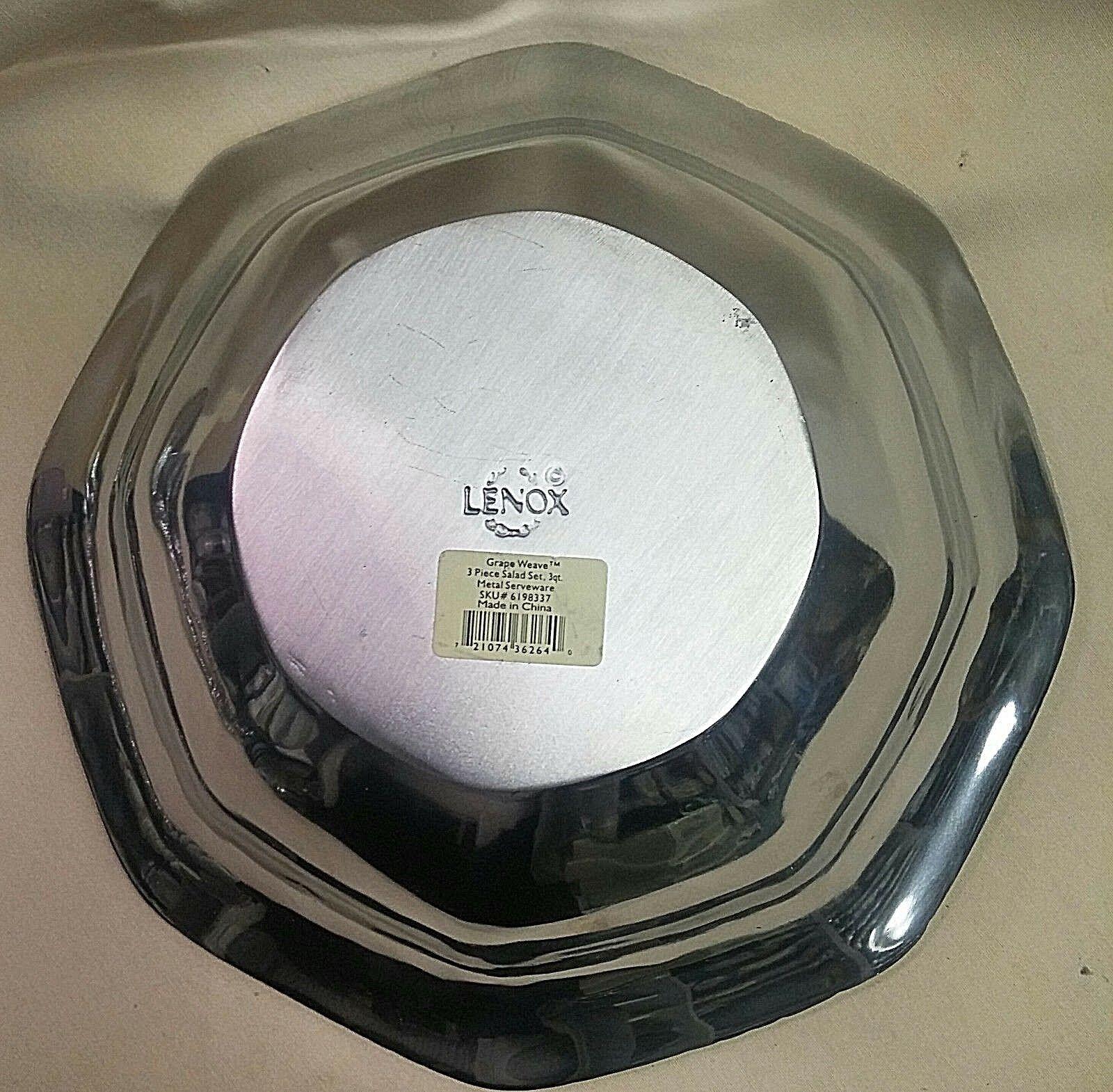 LENOX GRAPE WEAVE Salad Bowl12 Server 3 Piece Set - $149.95