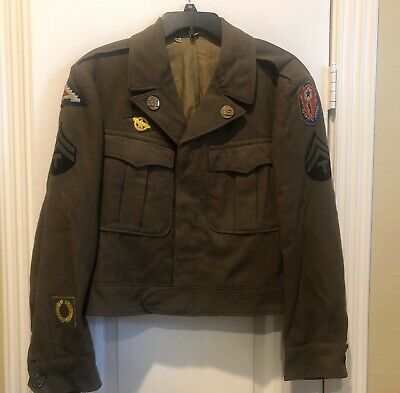 U.S. WW2 Ike Jacket Bullion 7th Army ADSEC With Garrison Cap