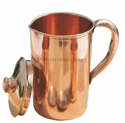 100% Pure Copper Water Jug Pitcher Pot 1500ml For Drinking Water Health Benefits