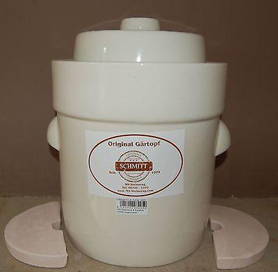 Gärtopf, Sauerkrauttopf,Gurkentopf,Einlegetopf 5 Lt.+St creme weiß