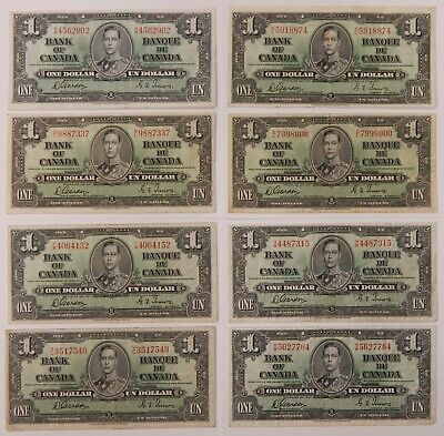 1937 - Canada - $1 Notes - Bank of Canada - Gordon-Towers - P-58d VF - Lot of 8