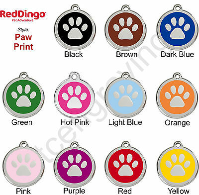 Red Dingo PAW PRINT Engraved Dog ID Pet Tag / Charm - Stainl