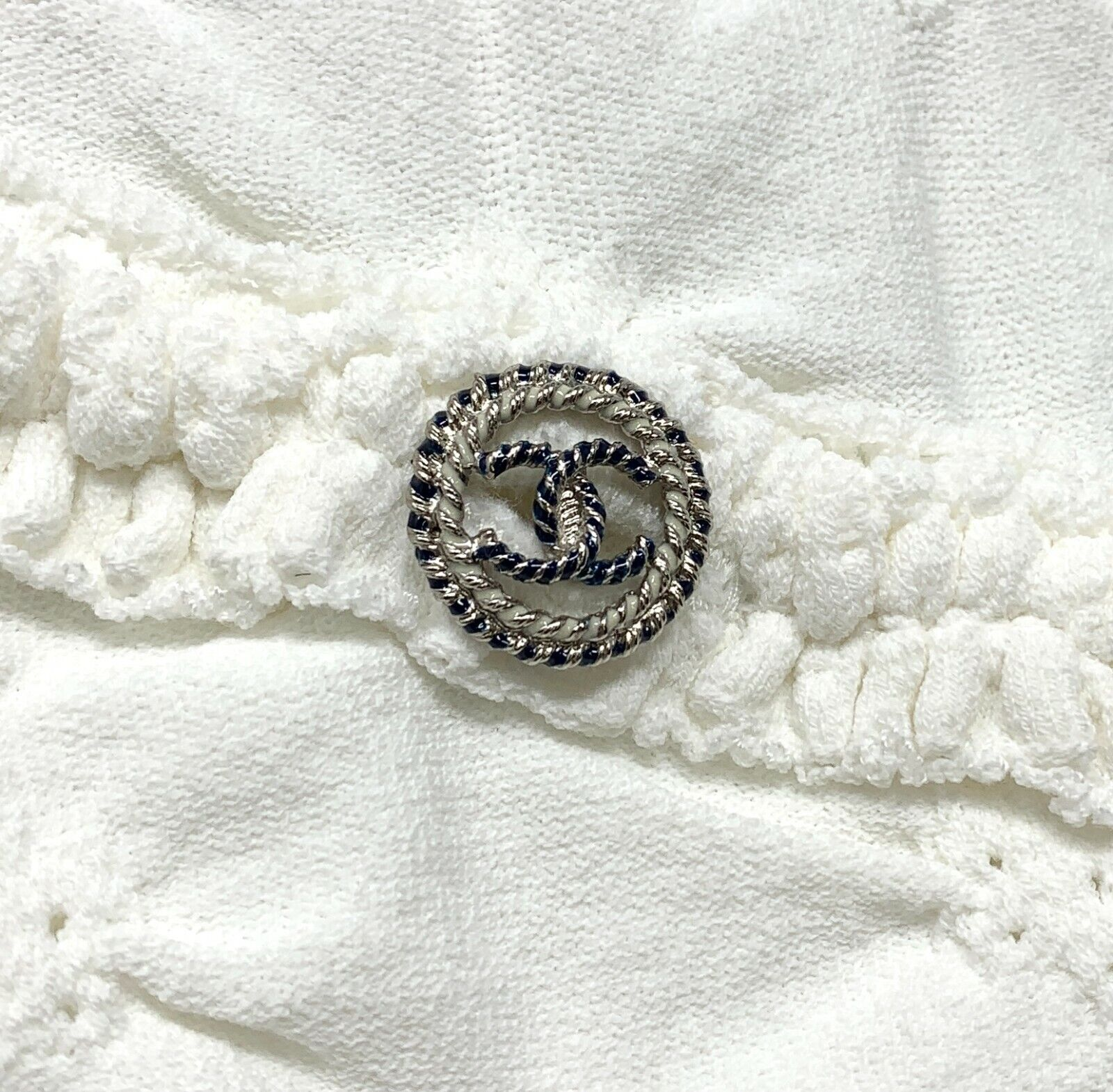 Authentique chanel p40326 cc logo boutons robe #38 rayon nylon blanc rank ab