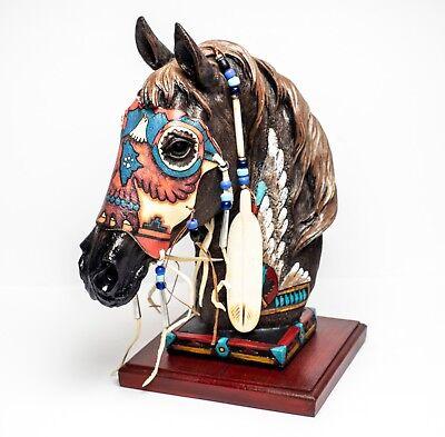 Wolf Spirit Horse 13 Inch Hand Decoraterd Statue with Genuine Buckskin Mask HSWS (Anime Wolf Mask)