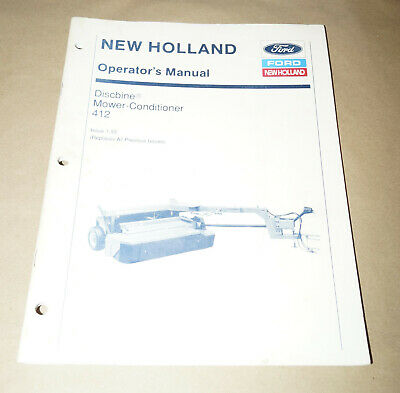 Ford New Holland Discbine Mower-conditioner 412 Operators Manual Pn 42041211
