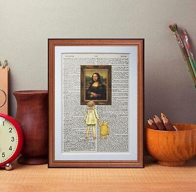 Winnie the Pooh Vs Mona Lisa - dictionary page art print gift Leonardo Da Vinci