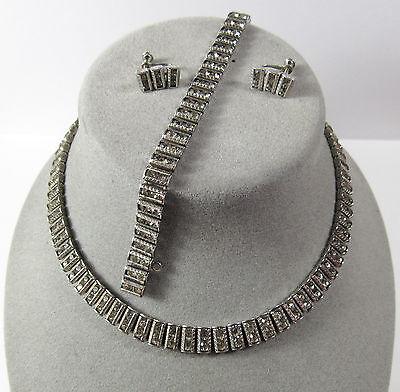 Art Deco Sterling Silver Necklace Bracelet Earrings Set Parure Catamore Catamor