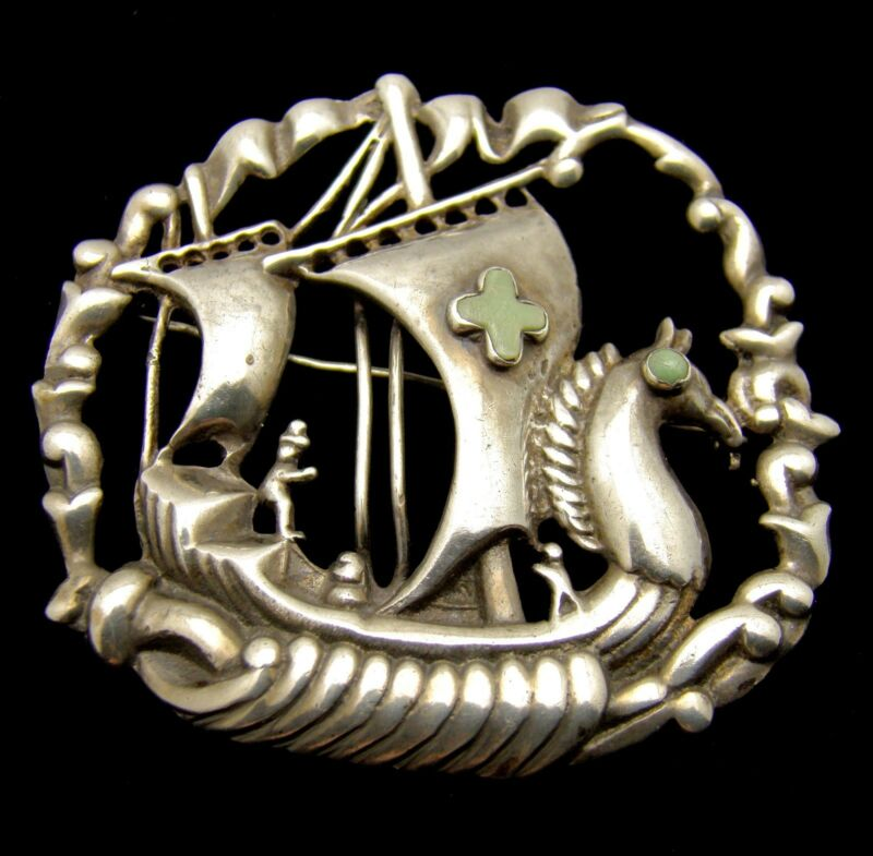 Brooch Mexico Sterling Silver Ship w Horse Head Prow & Cross on Sail Vintage