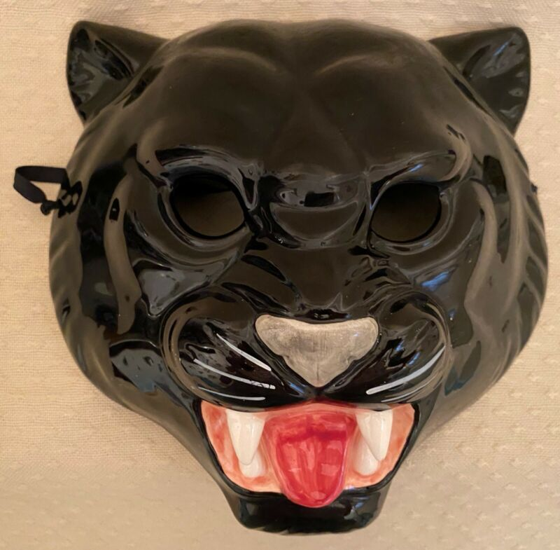 Vintage 1983  Vandor Japan Wall Mask Plaque Black Cat Panther Growling Fangs