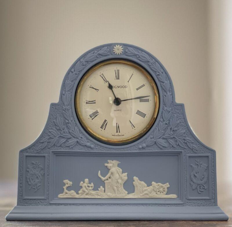 Vintage Wedgwood Jasperware Clock Cream Lavender Blue England Cherubs