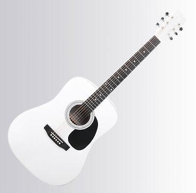 Beginner Student Acoustic Guitar Western Dreadnought Full Size 6 String White