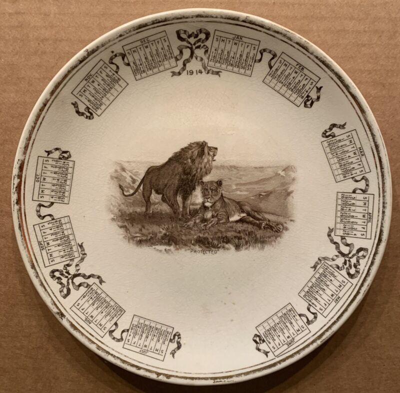 1914 ANNONA, TX, RHODES STORE CALENDAR PLATE LION LIONESS PRINT RED RIVER TEXAS