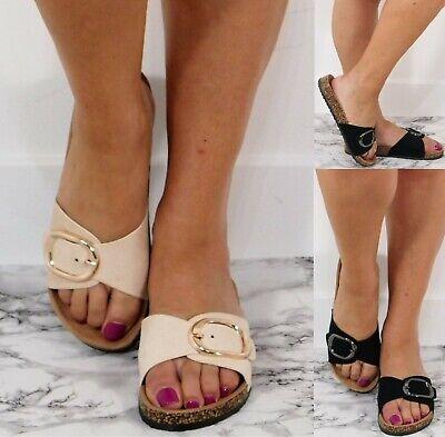 Buckle Mule Sandals (Ladies Womans Buckle Slip On Mule Summer Sliders Sandals Beach Shoes Size 3-8)