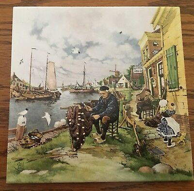 vintage ceramic tile hand decorated by Ter Steege bv Holland Fisherman Boats Net