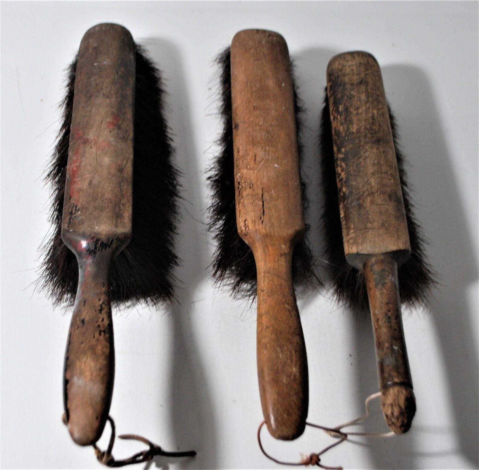 Three Primitive Antique Wood Handle Horse Hair Dust Pan Brushes