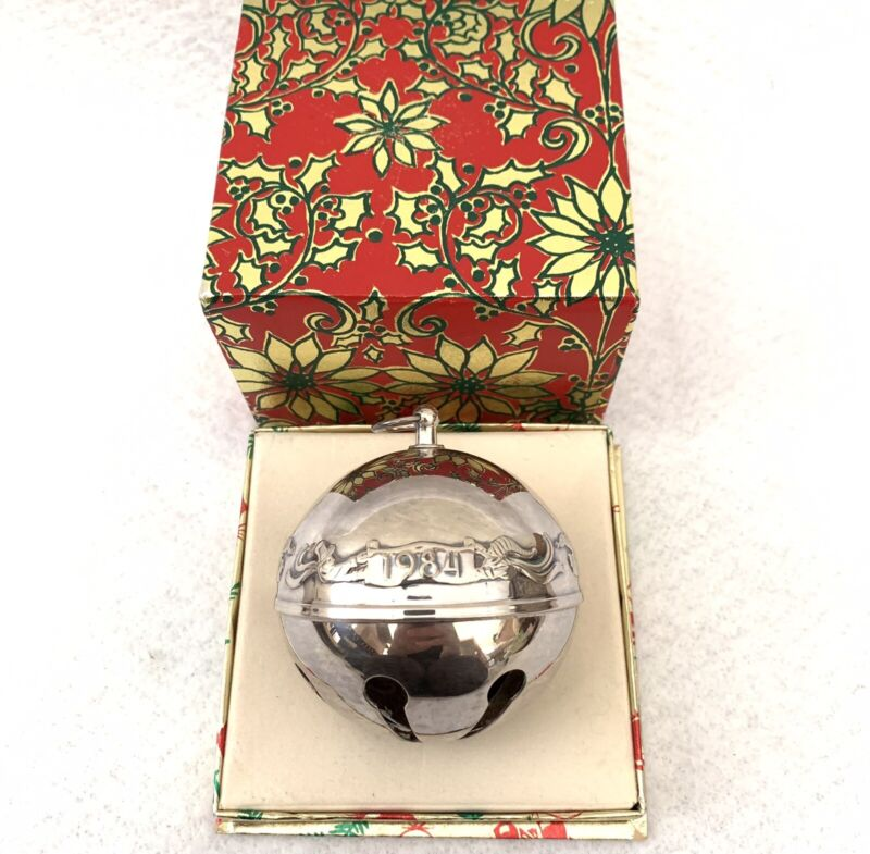 1984 Wallace Sterling Silver Plate Sleigh Bell Ornament Warmth of Christmas Vtg